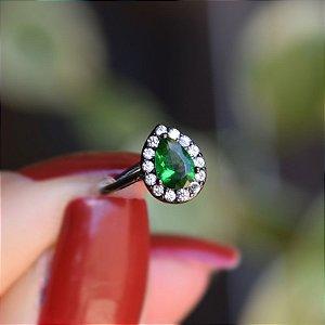Piercing de encaixe cristal gota verde ródio negro semijoia