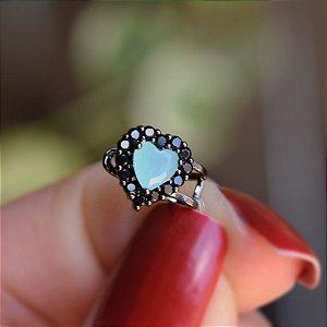Piercing de encaixe coração azul turquesa ródio negro semijoia