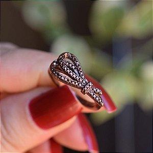 Anel zircônia cobre metalizado semijoia