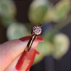 Anel botão zircônia cobre metalizado semijoia