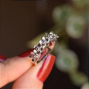 Anel flores ródio semijoia