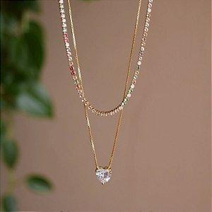 Colar duplo choker cristais coloridos coração ouro semijoia