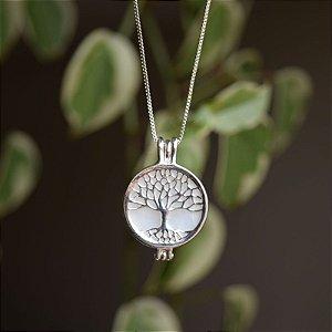 Colar árvore da vida pedra natural madrepérola prata 925