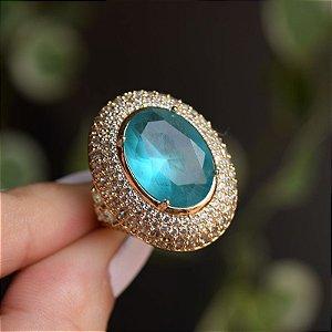Anel oval cristal turmalina zircônia ouro semijoia