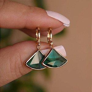 Brinco argolinha penduricalho cristal verde ouro semijoia