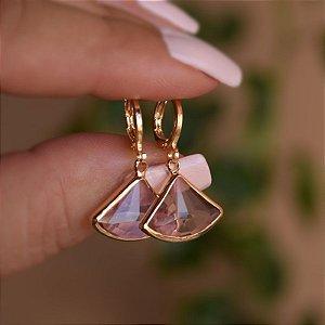 Brinco argolinha penduricalho cristal rosa ouro semijoia