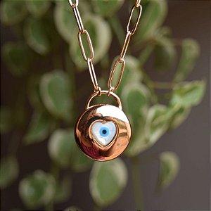Colar corrente elos olho grego ouro semijoia