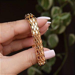 Pulseira tubo achatado ouro semijoia