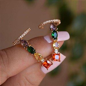 Brinco ear cuff zircônias coloridas ouro semijoia