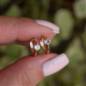 Brinco argolinha zircônia ouro semijoia 9A05062