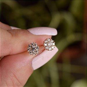Brinco mini flor zircônia ouro semijoia 11A07085