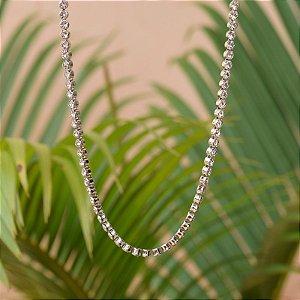 Colar longo cristais ródio semijoia
