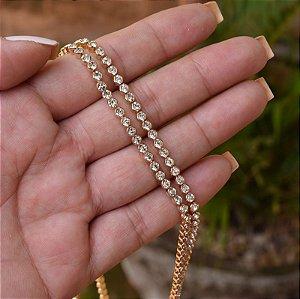 Colar longo cristais ouro semijoia