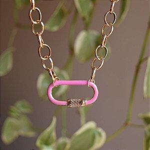 Colar elos pingente esmaltado rosa ouro semijoia