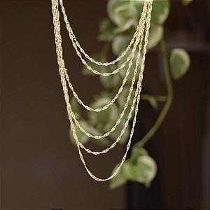 Colar camadas ouro semijoia