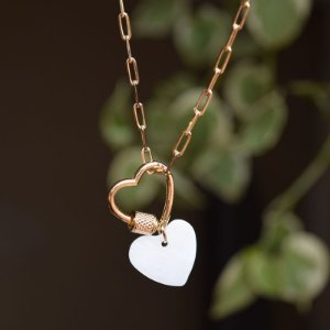 Colar corrente coração madrepérola ouro semijoia