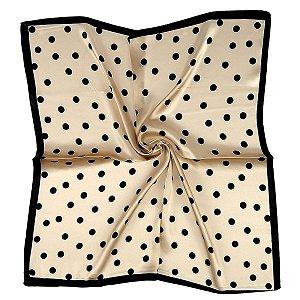 Lenço quadrado dourado com poá preto