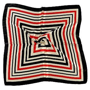 Lenço quadrado listras tricolor