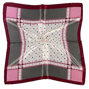 Lenço quadrado poás rosa com cinza
