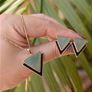 Colar e brinco geométrico pedra natural quartzo verde ouro semijoia