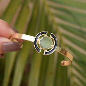 Bracelete ajustável geométrico pedra natural quartzo verde ouro semijoia