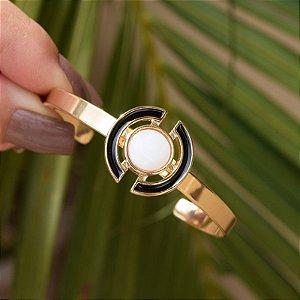 Bracelete ajustável geométrico pedra natural madrepérola ouro semijoia