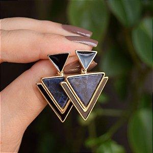 Brinco geométrico pedra natural sodalita ouro semijoia