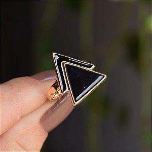 Anel geométrico pedra natural ágata preta ouro semijoia