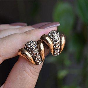 Brinco Nádia Gimenez cristais ouro vintage