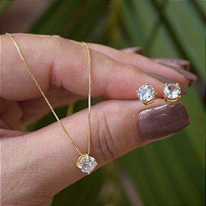 Colar e brinco ponto de luz zircônia cristal ouro semijoia