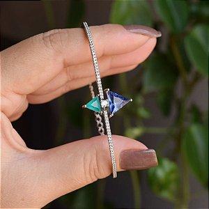 Bracelete zircônias triangulares azul e verde ródio semijoia