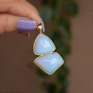 Pingente geométrico pedra natural opalina ouro semijoia