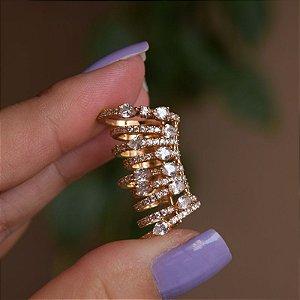 Piercing de encaixe individual aros zircônia ouro semijoia