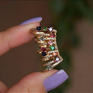 Piercing de encaixe aros zircônias coloridas ouro semijoia