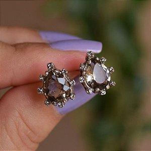 Brinco Claudia Arbex gota cristal prata semijoia