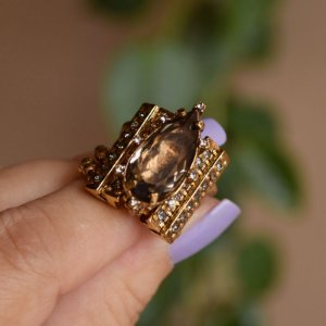 Anel ajustável Claudia Arbex cristal ouro vintage semijoia