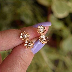 Brinco flores zircônia ouro semijoia