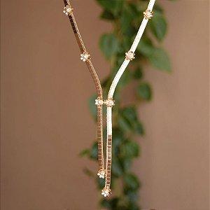 Colar ajustável flores zircônia ouro semijoia