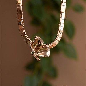 Colar ajustável borboleta zircônia ouro semijoia