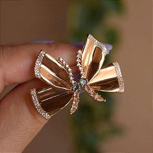 Brinco borboleta zircônia ouro semijoia