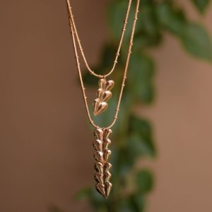 Colar duplo folhas ouro semijoia