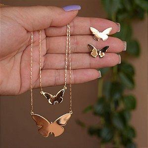 Colar duplo e brinco borboletas ouro semijoia