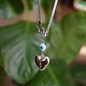 Colar corrente coração e olho grego ródio semijoia