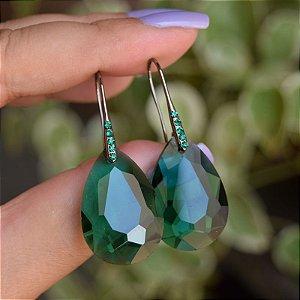 Brinco gancho cristal verde semijoia