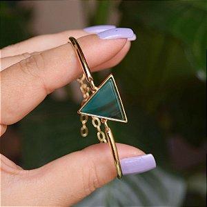 Bracelete geométrico pedra natural ágata verde ouro semijoia