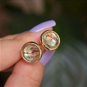 Brinco redondo pedra natural abalone ouro semijoia