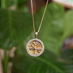 Colar árvore da vida pedra natural olho de tigre ouro semijoia