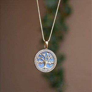 Colar árvore da vida pedra natural opalina ouro semijoia