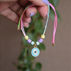 Tornozeleira fios de seda com olho grego semijoia