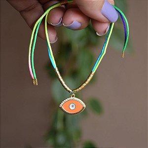 Tornozeleira fios de seda com olho grego laranja
